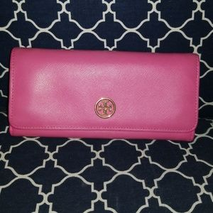 Tory Burch Saffiano Leather Pink Snap Full Wallet